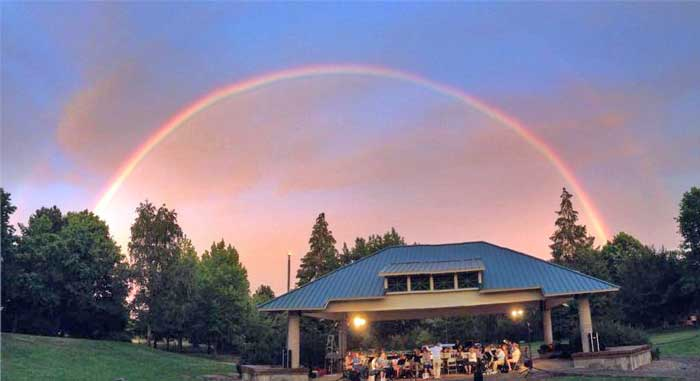 Photo of rainbow over band courtesy Paul Pritchard - taken from Corvallis Community Band's Facebook Page and edited by Bill Howard